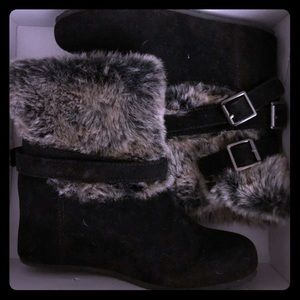 Black Ankle Suede Wedge Boots
